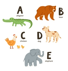 Animal alphabet letters a to e vector image vector image
