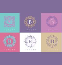 b letter pastel floral monogram lines logo design vector image