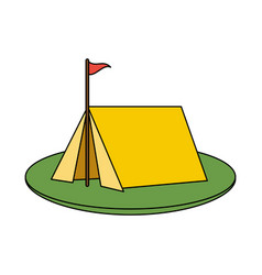 Color image camping tent in grass with flag vector