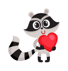 Cute raccoon character holding big red heart sy vector