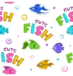 Funny seamless pattern with fishes vector image
