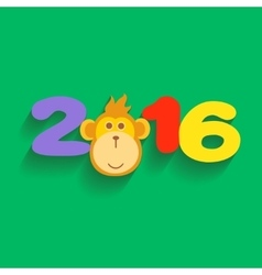 Happy New Year 2016 with Monkey Flat Design vector image vector image