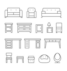 living room furniture line icons set vector image vector image