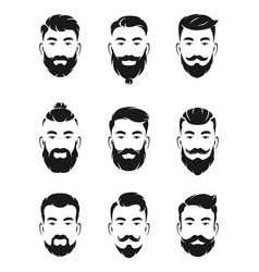 monochrome avatar systems of hipsters portraits vector image vector image