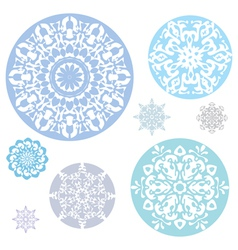 a collection of snowflakes on a white background vector image
