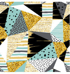 Abstract geometric seamless with pattern gold vector