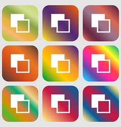 Active color toolbar icon nine buttons with bright vector