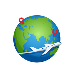airplane fly around planet earth vector image