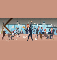 angry boss businessman screaming in office chaos vector image