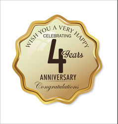 Anniversary retro label 4 years vector