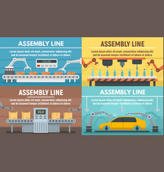 assembly line banner set flat style vector image