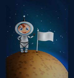 astronaut in space suit standing on planet vector image