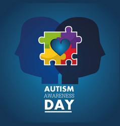 Autism awareness day profile heads with puzzle vector
