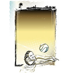 Beach volley poster background vector