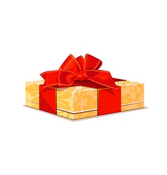 beige gift with red bow vector image