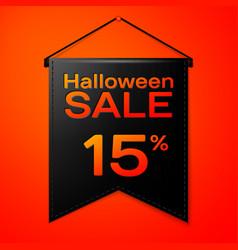 black pennant with inscription halloween sale vector image