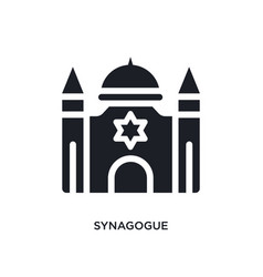 black synagogue isolated icon simple element from vector image