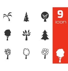 black trees icons set vector image