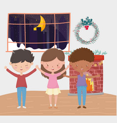 boys and girl chimney wreath room night merry vector image
