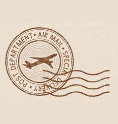 Brown postmark on beige background vector