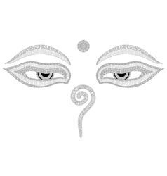 Buddha eyes Nepal symbol of wisdom and vector image