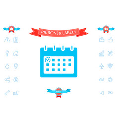 calendar with check mark- icon vector image