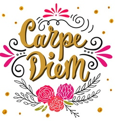 Carpe diem lat seize the day quote hand drawn vector