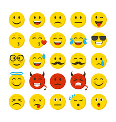 cartoon color emoticons sign icon set vector image