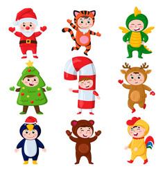Cartoon kids wearing christmas costumes kids vector