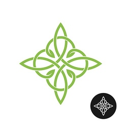 Celtic knots elegant weave cross logo Mono line vector