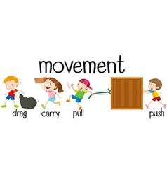 Children in different movement vector