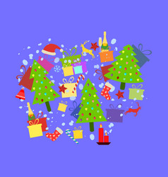 christmas background with holiday symbols vector image