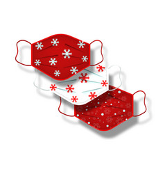 christmas pattern set surgical masks isolated vector image