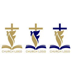 Church logo set symbol christianity cross vector