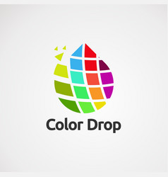 Color drop with modern touch logo icon element vector
