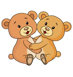 Cute bear embrace each other vector image