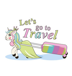 cute unicorn lugging a suitcase on wheels can be vector image