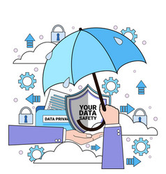 Data safety cloud shield hand hold umbrella over vector