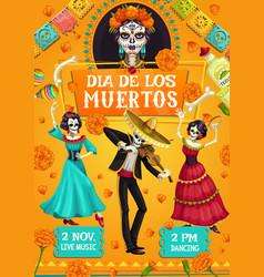 dia de los muertos spanish day dead party dance vector image