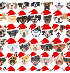dogs seamless pattern merry christmas vector image
