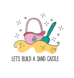 doodle style childrens beach sand castle bucket vector image