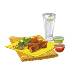 Eggrolls with drink and sauce vector