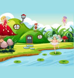 Fantasy fairys in green scene vector
