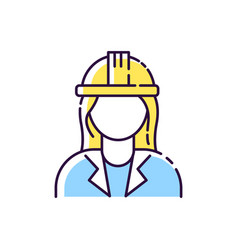 Female engineer rgb color icon vector