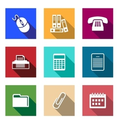 Flat office supply icons vector image
