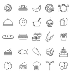 Food line icons on white background vector