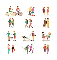 Friends And Hobbies Decorative Icons Set vector