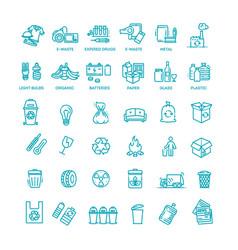 garbage line icons set garbage icons set vector image