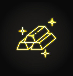Gold bar icon in neon line style vector