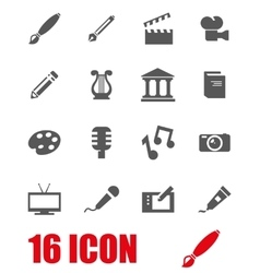 Grey art icon set vector